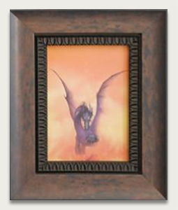 Dragon print in rustic wood frame